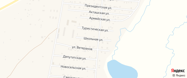Школьная улица на карте села Коша-Агача с номерами домов