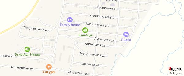 Армейская улица на карте села Коша-Агача с номерами домов