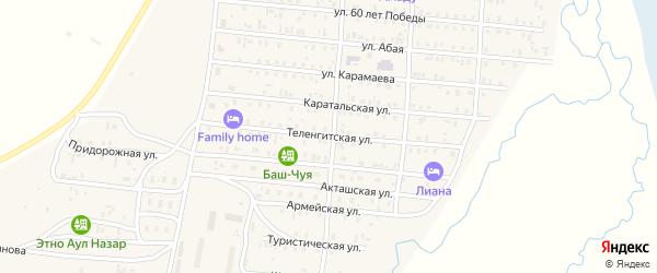 Теленгитская улица на карте села Коша-Агача с номерами домов