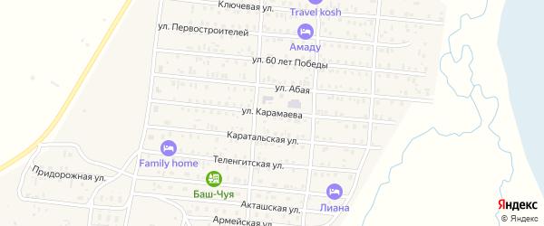 Улица Карамаева на карте села Коша-Агача с номерами домов