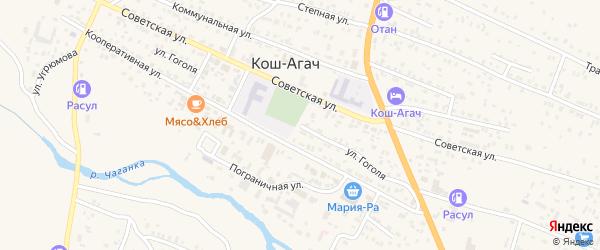 Улица Гоголя на карте села Коша-Агача с номерами домов