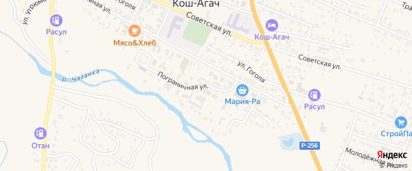 Пограничная улица на карте села Коша-Агача с номерами домов