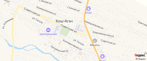 Советская улица на карте села Тобелера с номерами домов