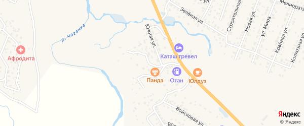 Южная улица на карте села Тобелера с номерами домов