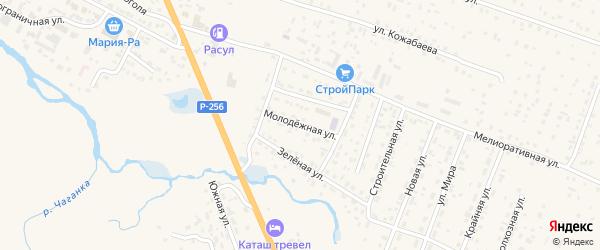 Молодежная улица на карте села Коша-Агача с номерами домов