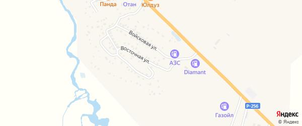 Восточная улица на карте села Коша-Агача с номерами домов