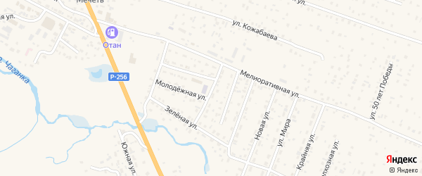 Солнечная улица на карте села Коша-Агача с номерами домов