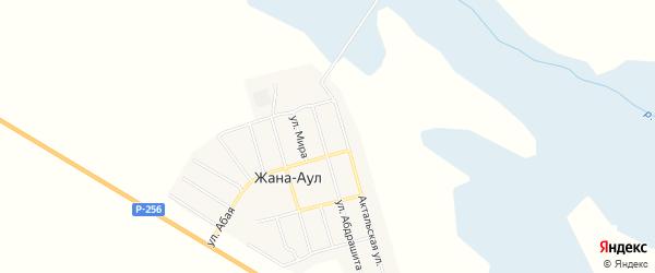 Карта села Жаны-Аул в Алтае с улицами и номерами домов
