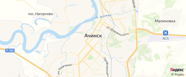 Карта Ачинска с районами, улицами и номерами домов