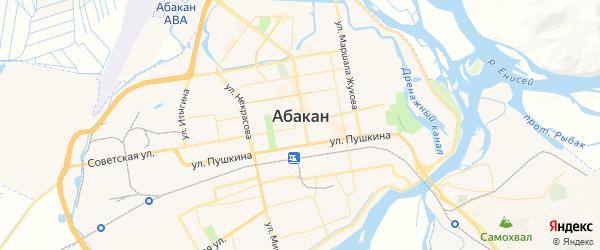 Карта Абакана с районами, улицами и номерами домов
