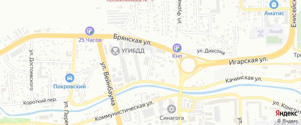 Сокольский переулок на карте Красноярска с номерами домов