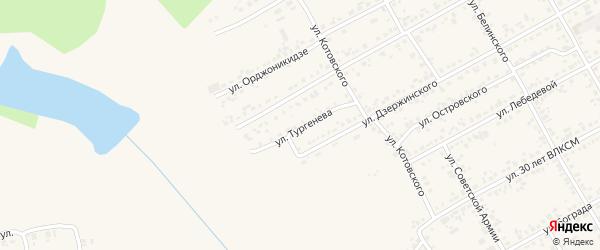 Улица Тургенева на карте Уяра с номерами домов