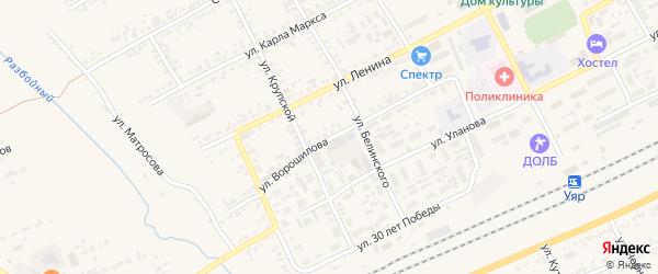 Улица Ворошилова на карте Уяра с номерами домов