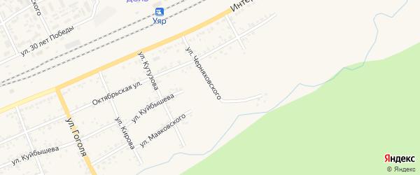 Улица Черняховского на карте Уяра с номерами домов