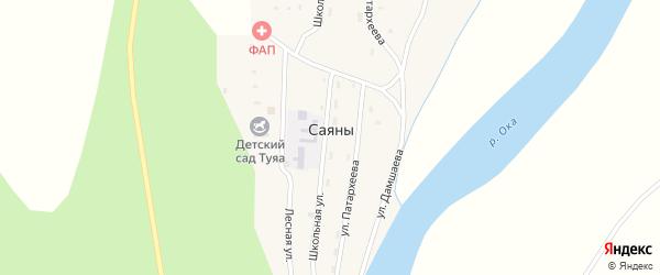Улица Дамшаева на карте села Саян с номерами домов