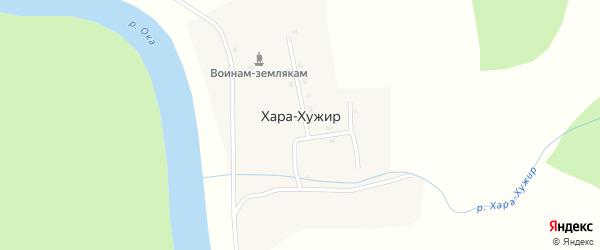 Центральная улица на карте села Хужира с номерами домов