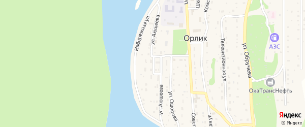 Улица Аюшеева на карте села Орлика с номерами домов