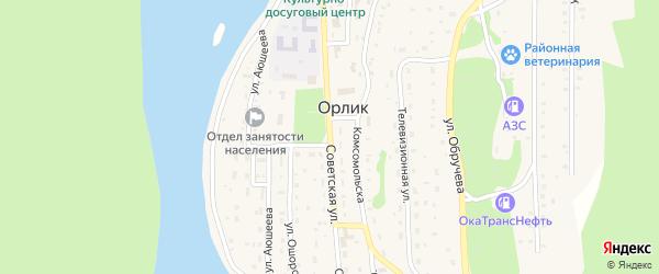 Советская улица на карте села Орлика с номерами домов