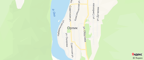 Карта села Орлика в Бурятии с улицами и номерами домов