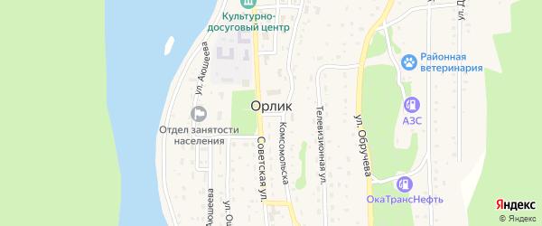 Местечко Усть-Орлик на карте села Орлика с номерами домов
