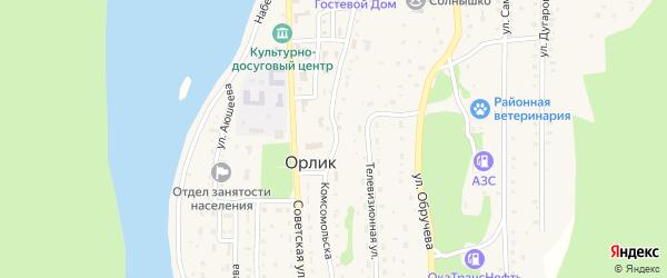 Комсомольская улица на карте села Орлика с номерами домов