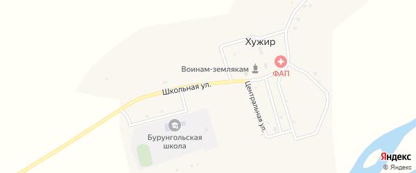 Школьная улица на карте села Хужира с номерами домов