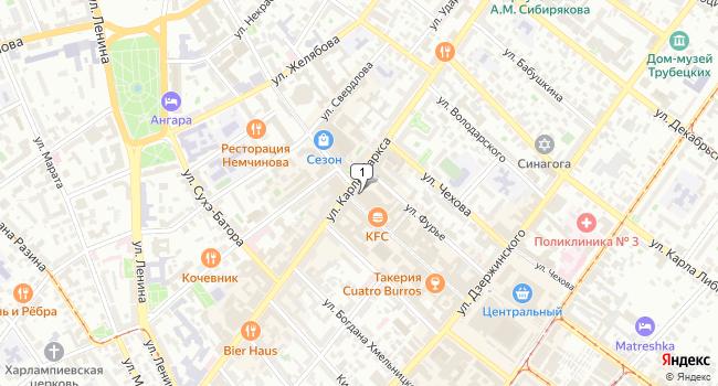 Арендовать торговую площадь 500 м<sup>2</sup> в Иркутске по адресу Россия, Иркутск, улица Урицкого, 1