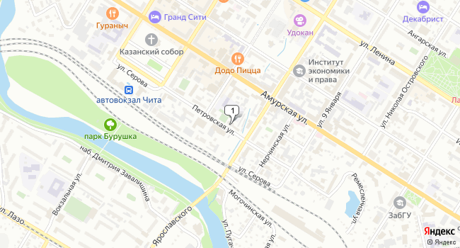 Купить торговую площадь 288 м<sup>2</sup> в Чите по адресу Россия, Забайкальский край, Чита, Петровская улица, 28