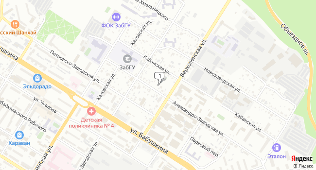 Купить торговую площадь 18 м<sup>2</sup> в Чите по адресу Россия, Забайкальский край, Чита, Александро-Заводская улица, 14