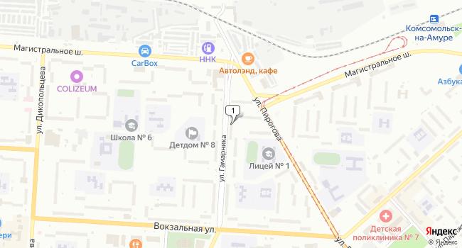 Купить торговую площадь 45 м<sup>2</sup> в Комсомольске-на-Амуре по адресу Россия, Хабаровский край, Комсомольск-на-Амуре, улица Гамарника, 24