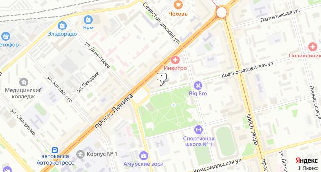 Купить офис 81 м<sup>2</sup> в Комсомольске-на-Амуре по адресу Россия, Хабаровский край, Комсомольск-на-Амуре, Красногвардейская улица, 36