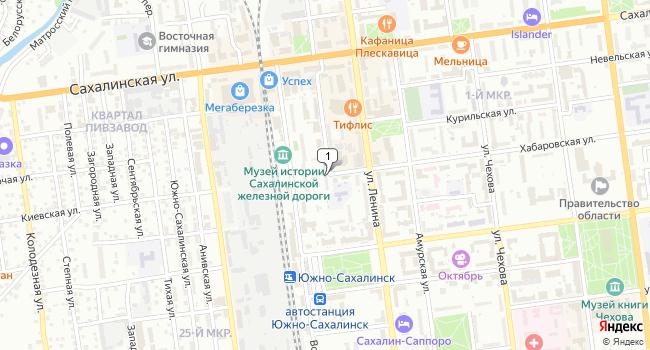 Купить торговую площадь 59 м<sup>2</sup> в Южно-Сахалинске по адресу Россия, Сахалинская область, Южно-Сахалинск, Вокзальная улица, 9А