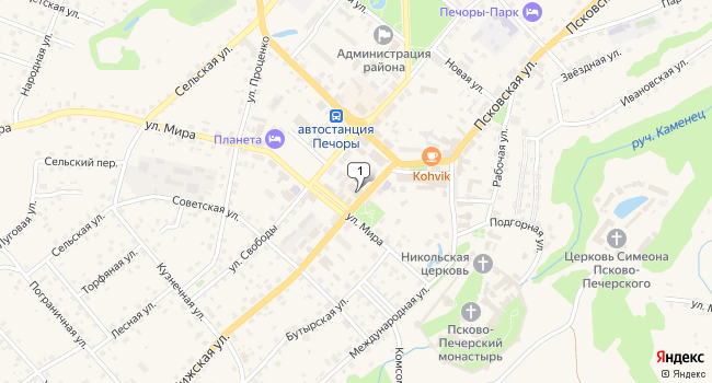 Арендовать торговую площадь 68 м<sup>2</sup> в Печорах по адресу Россия, Псковская область, Печоры, Рижская улица, 4