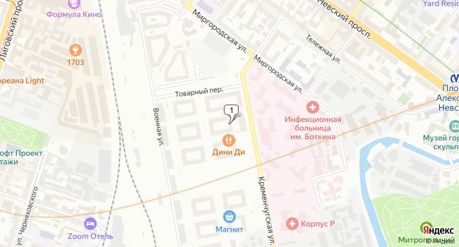 Купить коммерческую недвижимость 163 м<sup>2</sup> в Санкт-Петербурге по адресу Россия, Санкт-Петербург, Кременчугская улица, 11к1