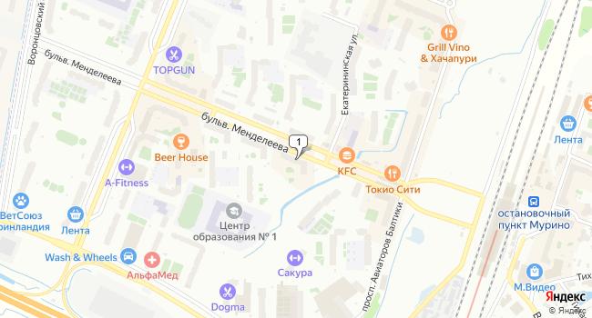 Арендовать торговую площадь 40 м<sup>2</sup> в посёлке Мурино по адресу Россия, Ленинградская область, Всеволожский район, поселок Мурино, бульвар Менделеева, 5к1
