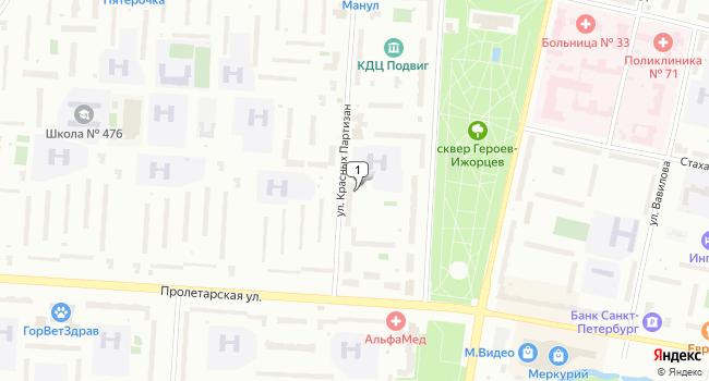 Арендовать склад 200 м<sup>2</sup> в Колпино по адресу Россия, Санкт-Петербург, Колпинский район, Колпино, улица Красных Партизан, 14