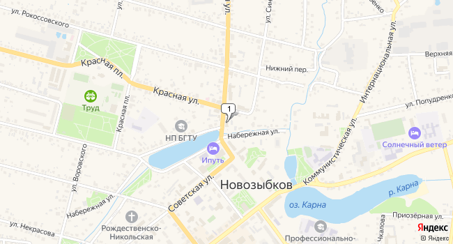Арендовать офис 30 м<sup>2</sup> в Новозыбкове по адресу Россия, Брянская область, Новозыбков, Наримановская улица, 2