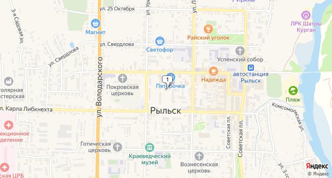 Купить торговую площадь 1536 м<sup>2</sup> в Рыльске по адресу Россия, Курская область, Рыльск, улица Дзержинского, 33