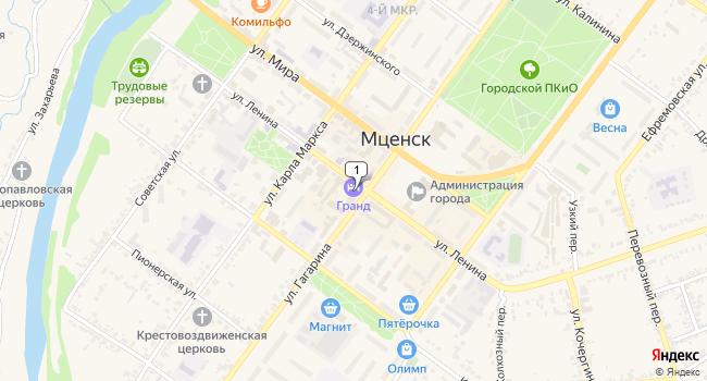 Купить торговую площадь 1719 м<sup>2</sup> в во Мценске по адресу Россия, Орловская область, Мценск, улица Ленина, 18