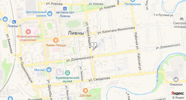 Купить торговую площадь 1137 м<sup>2</sup> в Ливнах по адресу Россия, Орловская область, Ливны, улица Карла Маркса, 139
