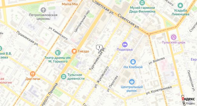 Арендовать офис 264 м<sup>2</sup> в Туле по адресу Россия, Тула, Тургеневская улица, 32