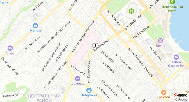 Арендовать офис 109 м<sup>2</sup> в Новороссийске по адресу Россия, Краснодарский край, Новороссийск, улица Цедрика, 56