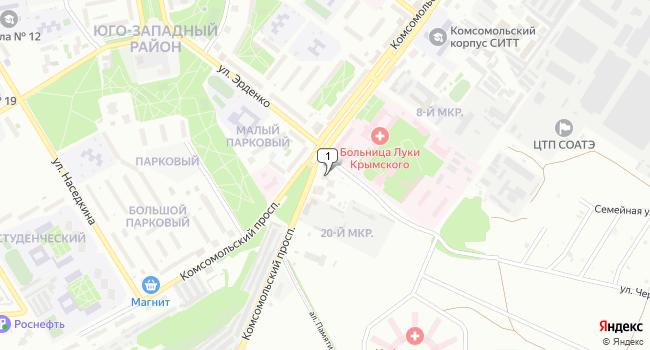 Арендовать офис 160 м<sup>2</sup> в Старом Осколе по адресу Россия, Белгородская область, Старый Оскол, Комсомольский проспект, 3Б