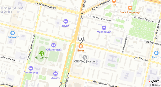 Арендовать офис 85 м<sup>2</sup> в Череповце по адресу Россия, Вологодская область, Череповец, улица Ленина