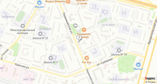 Купить офис 395 м<sup>2</sup> в Череповце по адресу Россия, Вологодская область, Череповец, Первомайская улица, 42Б