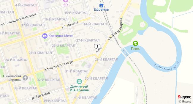 Купить коммерческую недвижимость 320 м<sup>2</sup> в Ефремове по адресу Россия, Тульская область, Ефремов, Комсомольская улица, 2