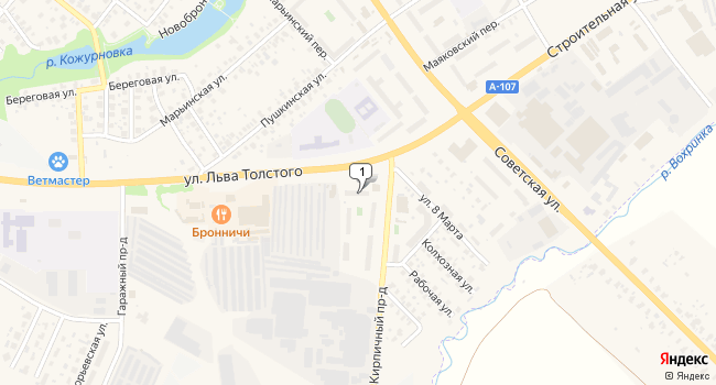 Арендовать торговую площадь 48 м<sup>2</sup> в Бронницах по адресу Россия, Московская область, Бронницы, улица Льва Толстого, 5