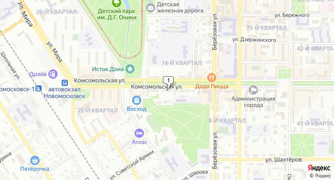Арендовать торговую площадь 50 м<sup>2</sup> в Новомосковске по адресу Россия, Тульская область, Новомосковск, Комсомольская улица, 10