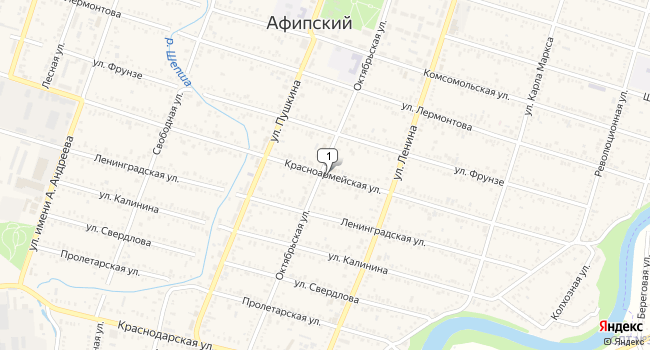 Арендовать офис 120 м<sup>2</sup> в посёлке ского типа Афипский по адресу Россия, Краснодарский край, Северский район, поселок городского типа Афипский, Красноармейская улица