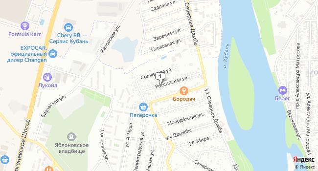 Купить земельный участок 700 м<sup>2</sup> в Майкопе по адресу Россия, Республика Адыгея, Тахтамукайский район, поселок городского типа Яблоновский, Российская улица